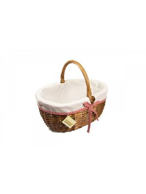 Woodluv Small Oval Wicker Storage Basket With Lining & Long Handle- Small