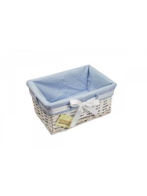 Woodluv Small Rectangular White Willow Basket With Blue Dot Lining & Ribbon