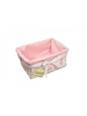 Woodluv Small Rectangular White Willow Basket-With Pink Dot Lining & Ribbon