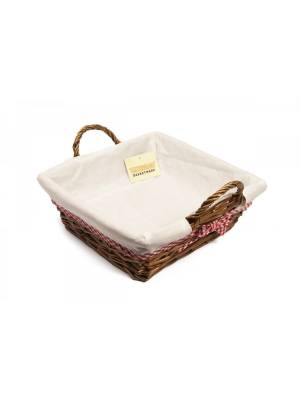 Woodluv Sqaure Wicker Hamper Basket With White Lining and Side Handles