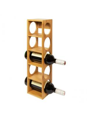 Woodluv Stackable Natural Bamboo Wood Wine Holder Unit
