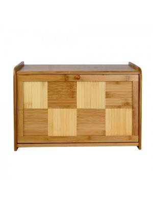 Woodluv Sturdy Natural Bamboo Wood  Bread Bin with Drop Down Front Lid