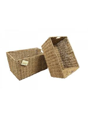 Woodluv Two Large Handmade Seagrass Shelf Storage Hamper