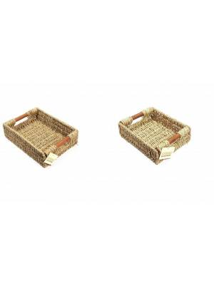Woodluv Two Natural Seagrass Storage Baskets With Wooden Handles, Small & Medium