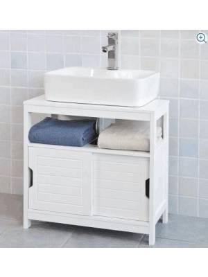 Woodluv Under Sink MDF  Bathroom Storage Cabinet With Shutter - White