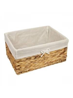 Woodluv Water Haycinth Shelf Storage Basket With Lining, Large