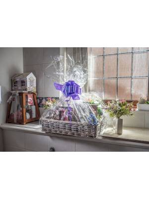 Woodluv Wicker Basket Includes Create Your Own Gift Hamper Kit, Grey