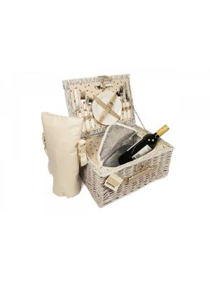 Woodluv Wicker Picnic Basket With Cooler Compartment And Bottle Cooler Bag