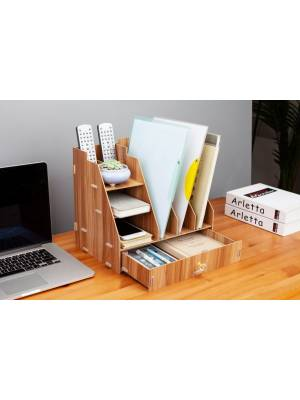 Woodluv Wooden Multi- Functional 5 Compartment Desk Organizer