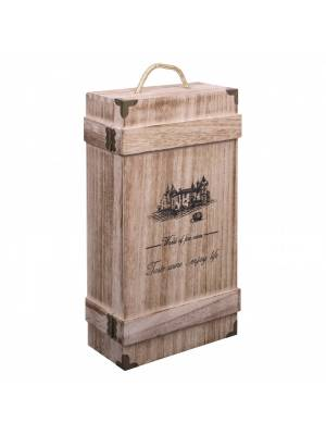 Woodluv Wooden Vintage Single Wine  Bottle Gift Box With Built-in-Handle