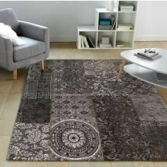 Chenille Patchwork 120 x 160 cm Floor Carpet Rug - Black/Grey