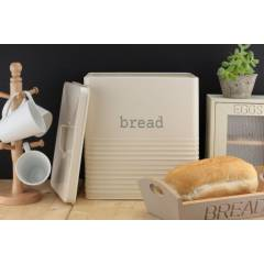 Ehc Elegant Square Shaped Storage Bread Bin - Cream