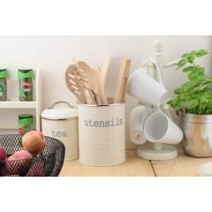 Round Cream Enamel Utensil Storage Pot Holder, Diameter 14 cm