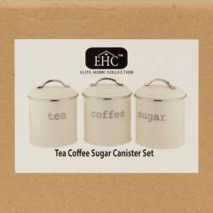 EHC Set of 3 Airtight Tea Sugar and Coffee Storage Canister , Cream