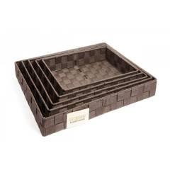 EHC Set of 5 Woven Strap Storage Basket - Dark Brown
