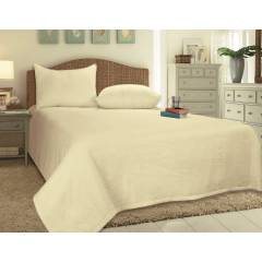 European Style Woven Matelasse Bedspread, 2 Pillow Shams -Cream