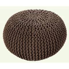 Hand Knitted Chunky Double Braided Cotton Pouffe-Latte