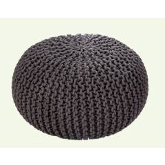 Hand Knitted Chunky Double Braided Cotton Pouffe-Smoke