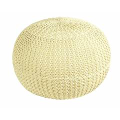 HandKnitted Double Braided  Cotton Round Pouffe- Cream