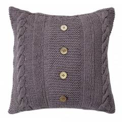 Handmade CableKnit Cotton Cushion Cover With Wooden Buttons & Insert-Smoke