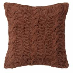 HandMade Chunky CableKnit Cotton Cushion Cover - 40 x 40 cm, Chocolate
