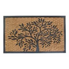 Infinity Tree Patterned PVC Backed Entrance Coir Mat-Natural & Black