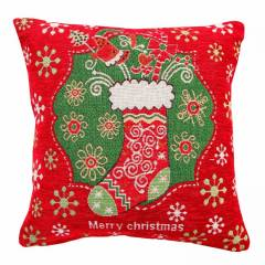 Jacquard Tapestry Chenille Festive Xmas Stocking Cushion Cover- 45 x 45cm
