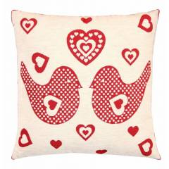Love Birds Jacquard Cushion Cover Sofa Bed Pillow Case with Inserts