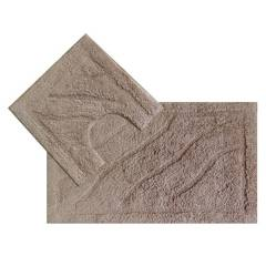 Luxurious 2-Piece Cotton Bath Mat and Pedestal Set- Mocha