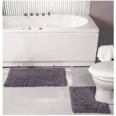 Luxurious 2-Piece Cotton Bath Mat and Pedestal Set- Smoke