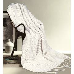 Luxuriously Soft Super Chunky Handknitted Cotton Throw- Ivory (120 X 150cm)