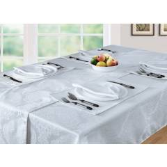 Luxury Damask Pack of 4 Rectangle Place Mats in White, 13