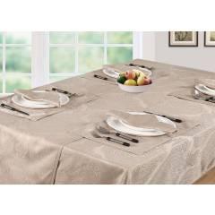 Luxury Damask Rectangular Table Cloth- Beige( 138cm x 229cm )