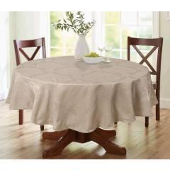 Luxury Damask Round Table Cloth- Beige  69