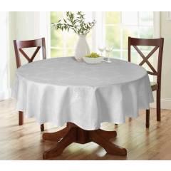 Luxury Damask Round Table Cloth- White 69