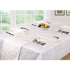 Luxury Scroll Pack Of 4 Table Napkins Serviettes- White