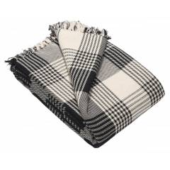 Premium Reversible Large Cotton Tartan Throw for Sofa or Armchair-Black