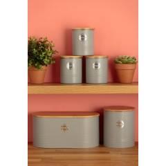 Typhoon Living 3 pcs Tea Coffee & Sugar Storage Jars with Bamboo Lid-Grey
