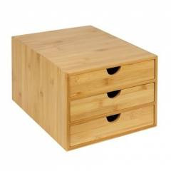 Woodluv 3 Drawer Bamboo Stationary Storage Organizer