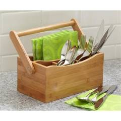 Woodluv 4 comaprtment Drop Down Bamboo Utensil Caddy