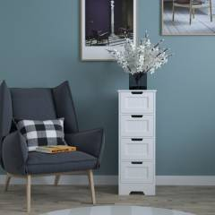 Woodluv 4 drawer Free standing Bathrrom Storage Cabinet- MDF