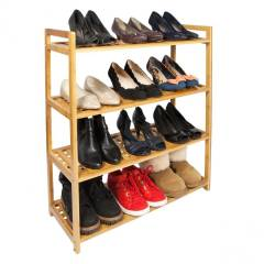 Woodluv  4 Tier Natural Bamboo Wood  Criss Croos Shoe Rack