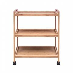 Woodluv Bamboo 3 Tier Kitchen Storage Trolley With Wheels