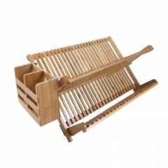 Woodluv Bamboo Folding 2 Tier Dish Drying Rack With Utensils Holder