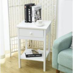 Woodluv Chic Bedside Storage Cabinet with Drawer And A Shelf