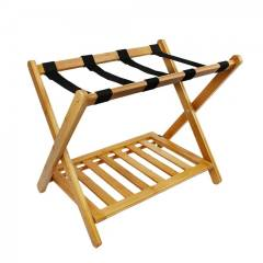 Woodluv Durable Bamboo Wood  Folding Luggage Rack/ Suitcase Stand