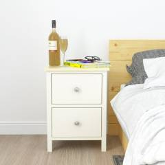 Woodluv Exquisite 2 drawer MDF Bedside Table - ButterMilk & Wood
