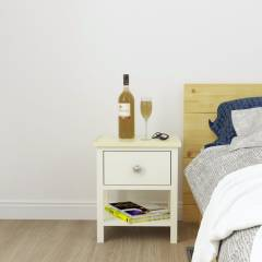 Woodluv Exquisite MDF One Drawer Bedside Table - ButterMilk