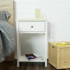 Woodluv Exquisite & Sturdy MDF Bedside Storage Table - ButterMilk & Wood