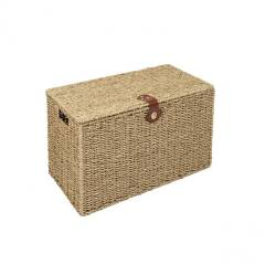 Woodluv Hand Woven Natural Seagrass Storage laundry Basket- Small